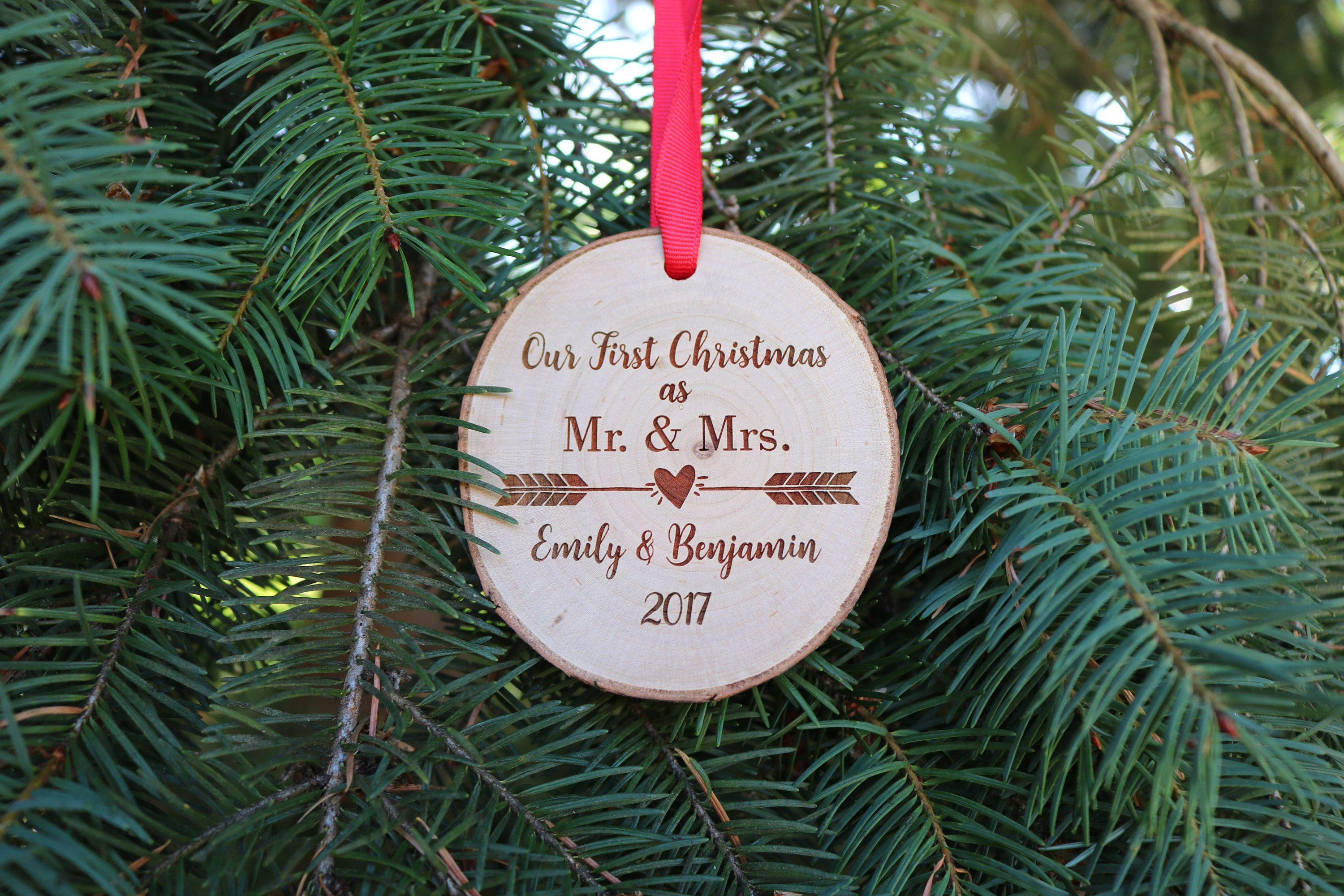 Our First Christmas Ornament Mr And Mrs Ornament Personalized Tree Slice Ornament Rustic E Our First Christmas Ornament Wood Christmas Tree Christmas Ornaments