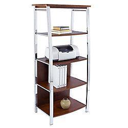 Realspace Mezza Bookcase 60 H X 26 12 W X 17 12 D Cherrychrome By Office Depot Officemax 4 Shelf Bookcase Bookcase Shelves