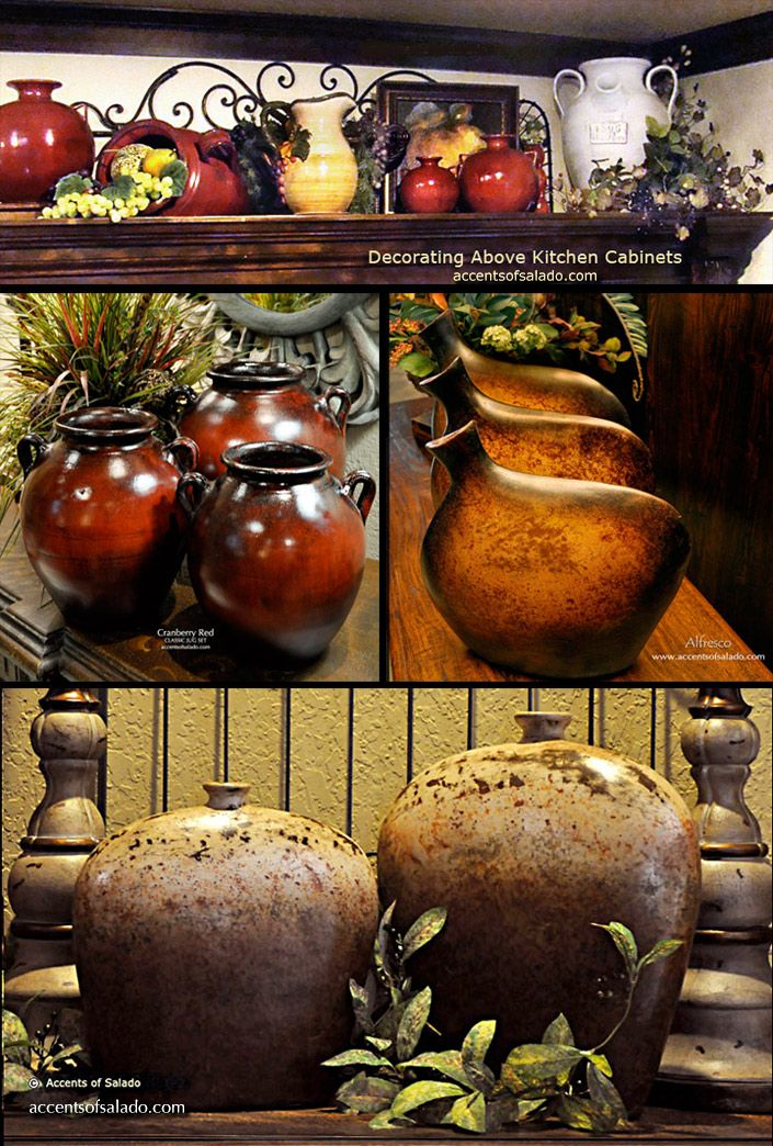 Kitchen Decorating Ideas - Earthenware Vases above Kitchen Cabinets ...