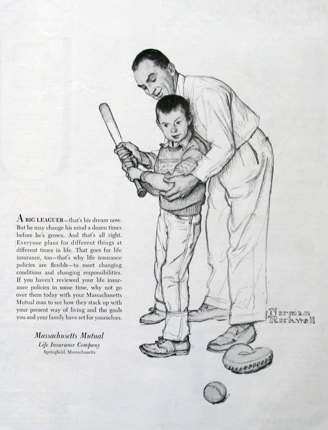 1954 Mass Mutual Insurance Ad Norman Rockwell Art Retroreveries