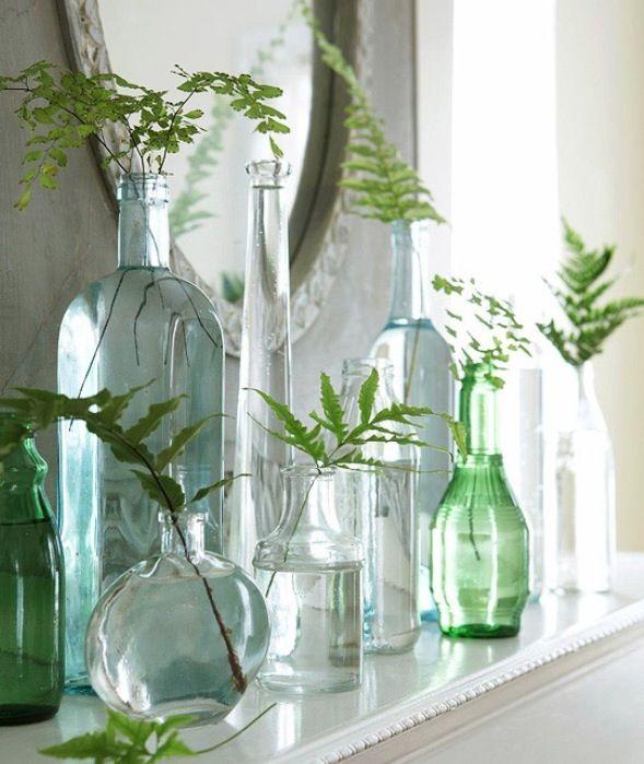 Flowers in bottles damajuana botella antigua vasija - Decoracion jarrones cristal ...