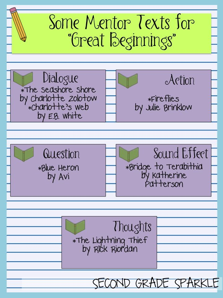 Story Starters And Mentor Text Ideas To Model 5 Different