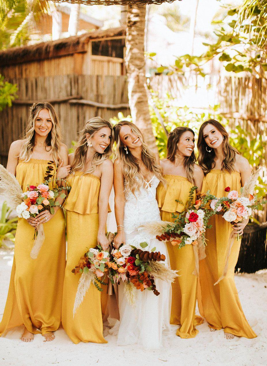 Barefoot And Bohemian For This Festive Tulum Destination Wedding Green Wedding Shoes Mustard Bridesmaid Dresses Yellow Wedding Inspiration Yellow Bridesmaid Dresses [ 1270 x 927 Pixel ]