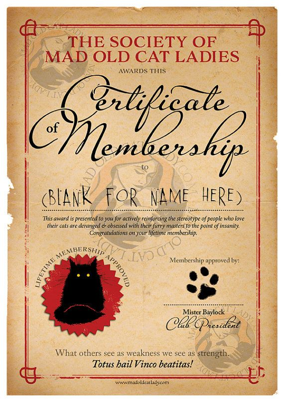 Society of Mad Old Cat Ladies BLANK certificate A4 Blank - blank certificate