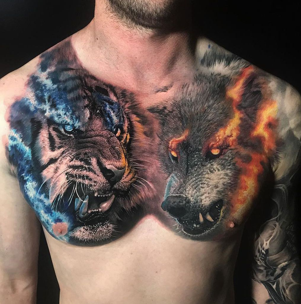 Tiger Vs Wolf Chest Piece By Chris Mataafa An Artist Based In Sydney Australia Chest Tattoo Men Cool Chest Tattoos Chest Piece Tattoos