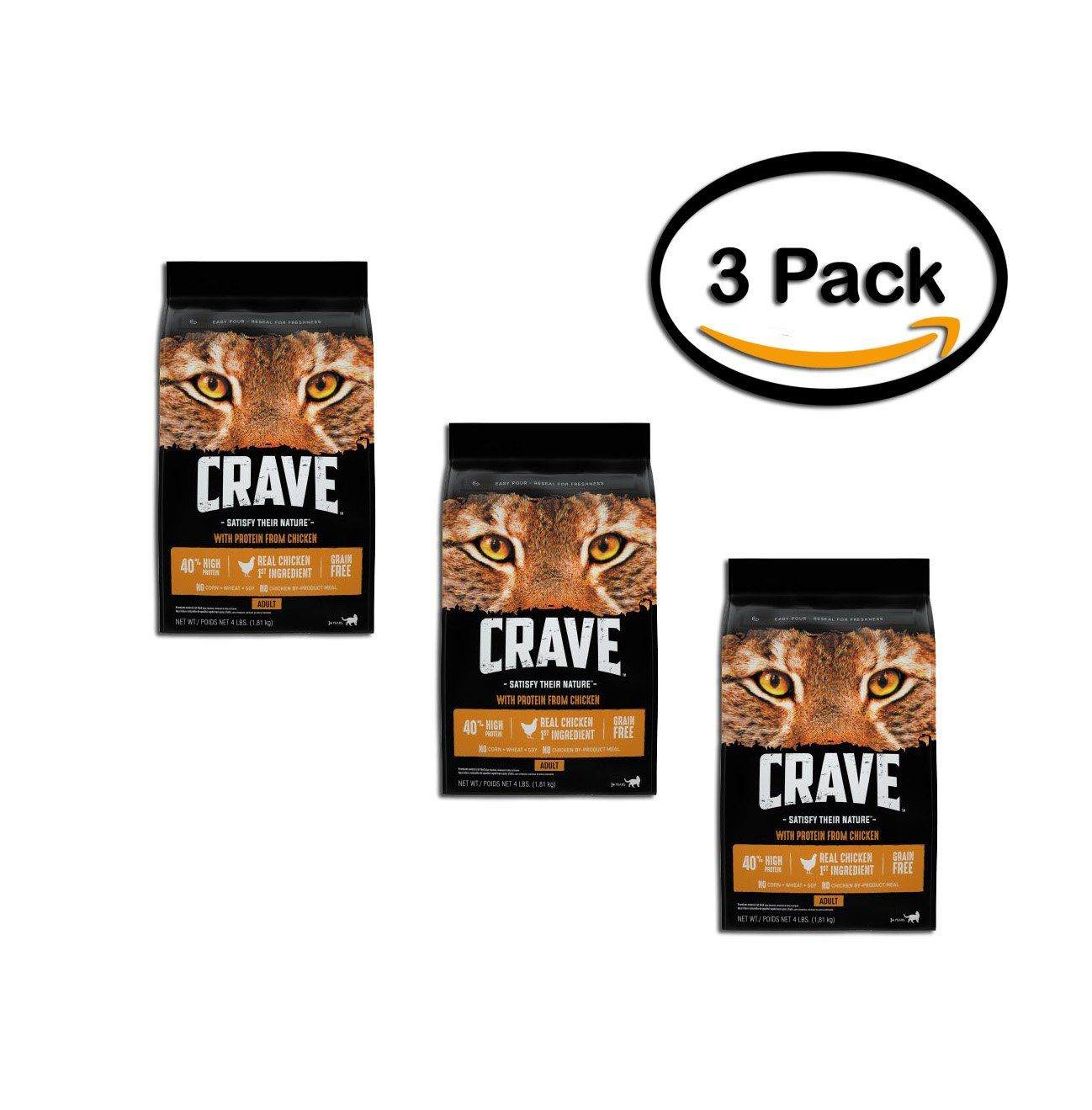 Pack Of 3 Crave Grain Free Dry Cat Food With Protein From Chicken Bag 4 Lb Very Kind Of You To Have Dropped By To View Th Dry Cat