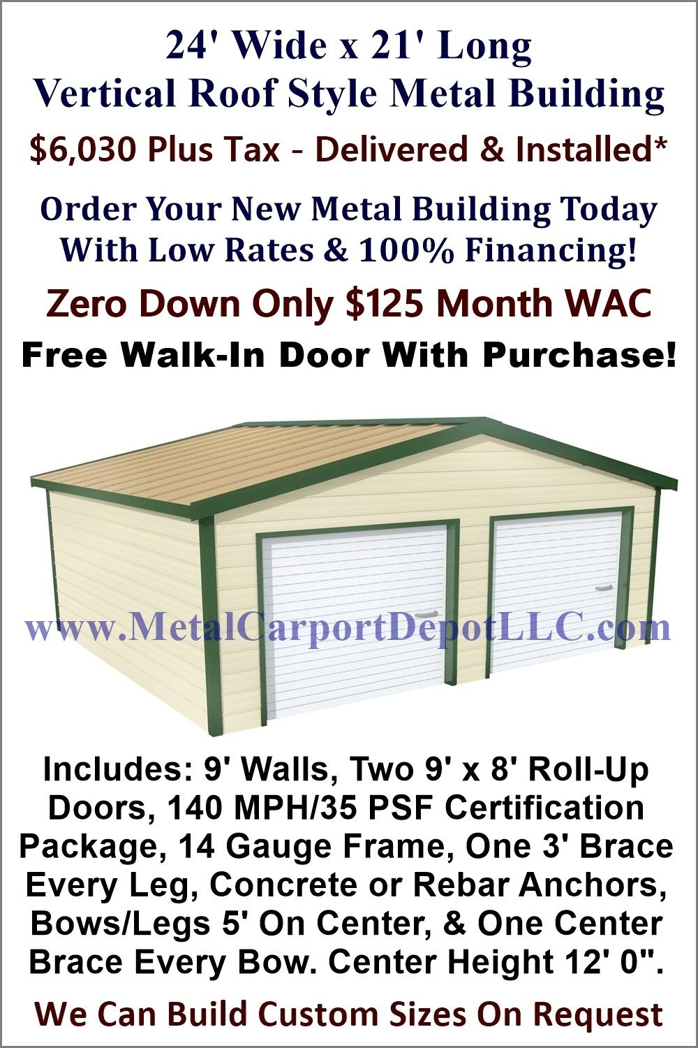 24 X 21 Steel Building Vertical Roof Metal Garage Metal Carport Depot With Images Metal Buildings Roof Styles Roof