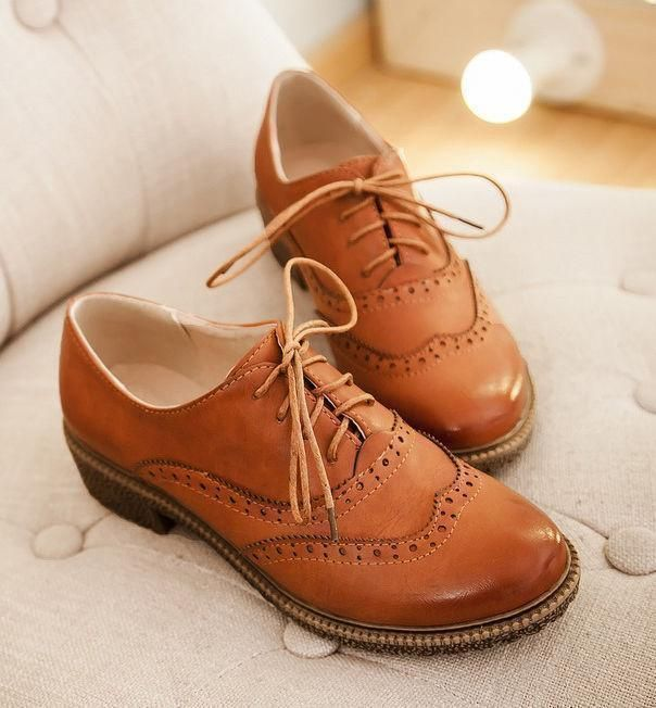 womens Leather dress oxford low heel Brogue wing tip lace up Preppy shoes New YT