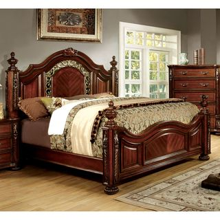 Furniture Of America Ellianne Traditional Brown Cherry Poster Bed