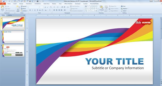 Widescreen Rainbow Template For Powerpoint Presentations Abstract