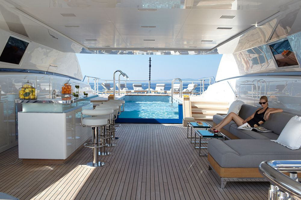 Sun Deck with swimming pool and cocktail bar #superyacht # ...
