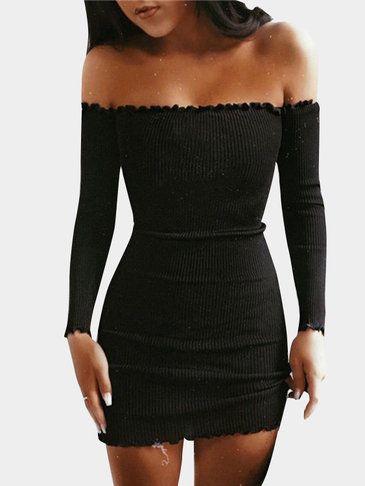 Pink Plain Flounced Details Off Shoulder Bodycon Mini Dresses - US$11.95 5