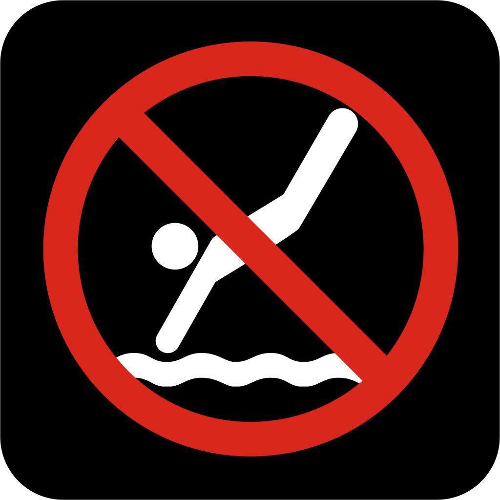 No Diving International Symbol Vinyl Sticker Window Wall Car Sign