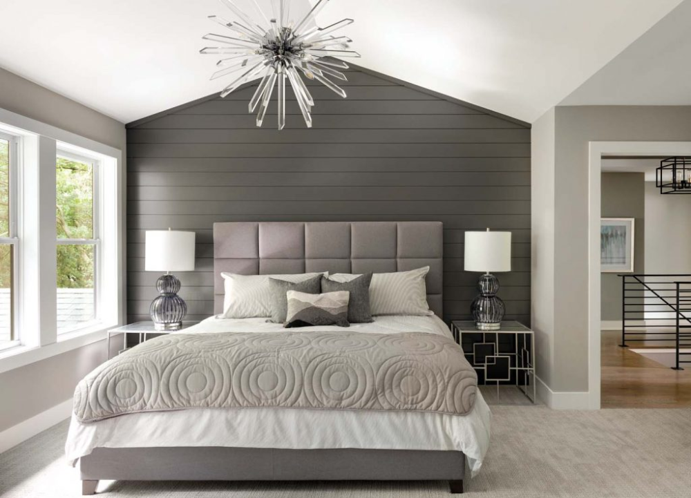 gray bedroom with shiplap Google Search in 2020 Home
