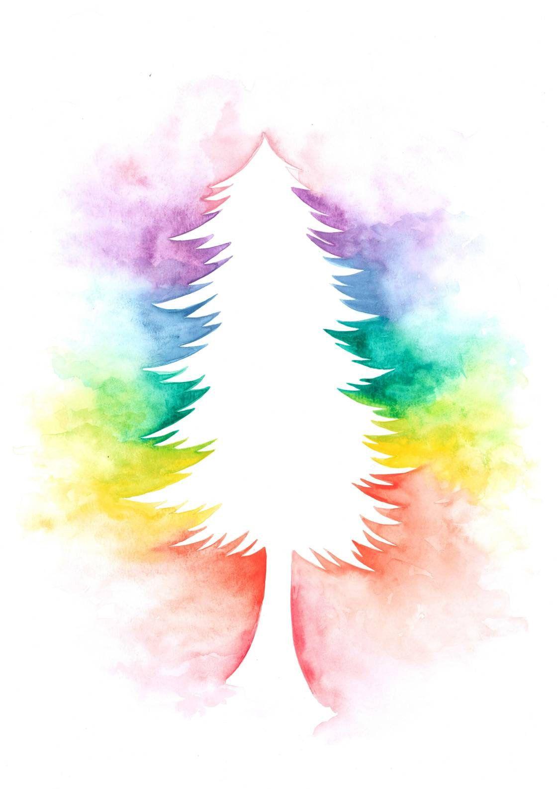 Watercolour Chakra Rainbow Evergreen Tree Pride Print A3 A4 A5 And Greetings Card Tree Art Chakra Colors Rainbow