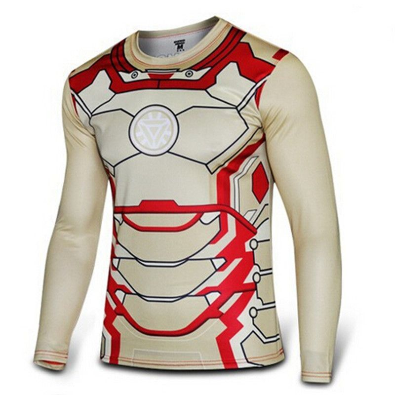 Hot Men quick dry compressed t-shirt ironman long sleeve tshirt men running  fitness gym sportswear compression tights shirts 0011c5bc6