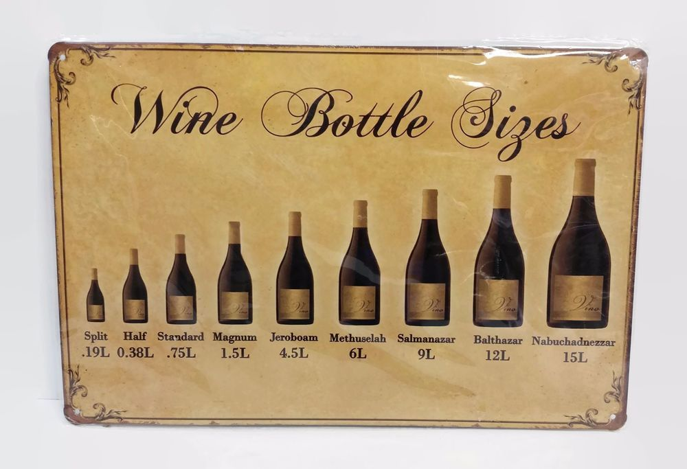 Tin Wall Plaque Wine Bottle Sizes Metal Sign Wall Art Decoration ...