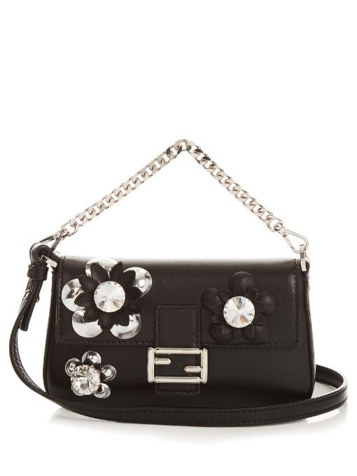 38f5fae6fd FENDI Micro Baguette Leather Cross-Body Bag. #fendi #bags #shoulder bags  #crystal #suede #lining #