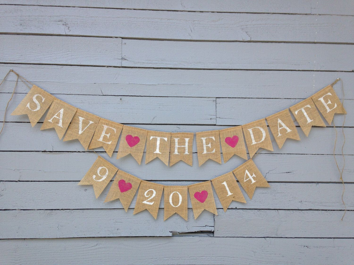 Wedding Date Banner  Engagement Banner  Save the Date  Due Date Banner  Custom Burlap Banner
