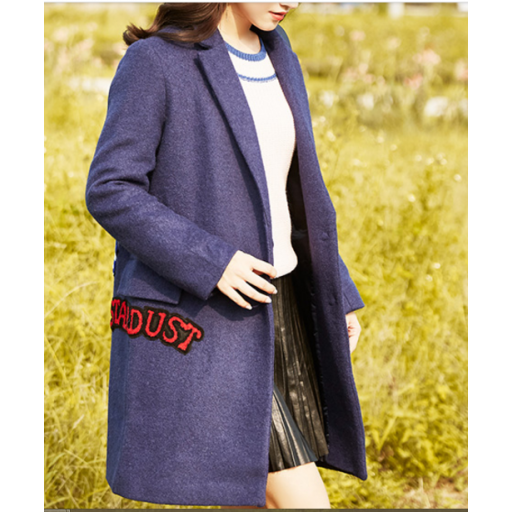 معطف نسائي شتوي عصري من الصوف الثقيل معطف طويل بأكمام طويلة معطف سادة بكتابات ملونة تمنحه مظهرا أنيقا معطف بنف Winter Coat Women S Blazer Coat