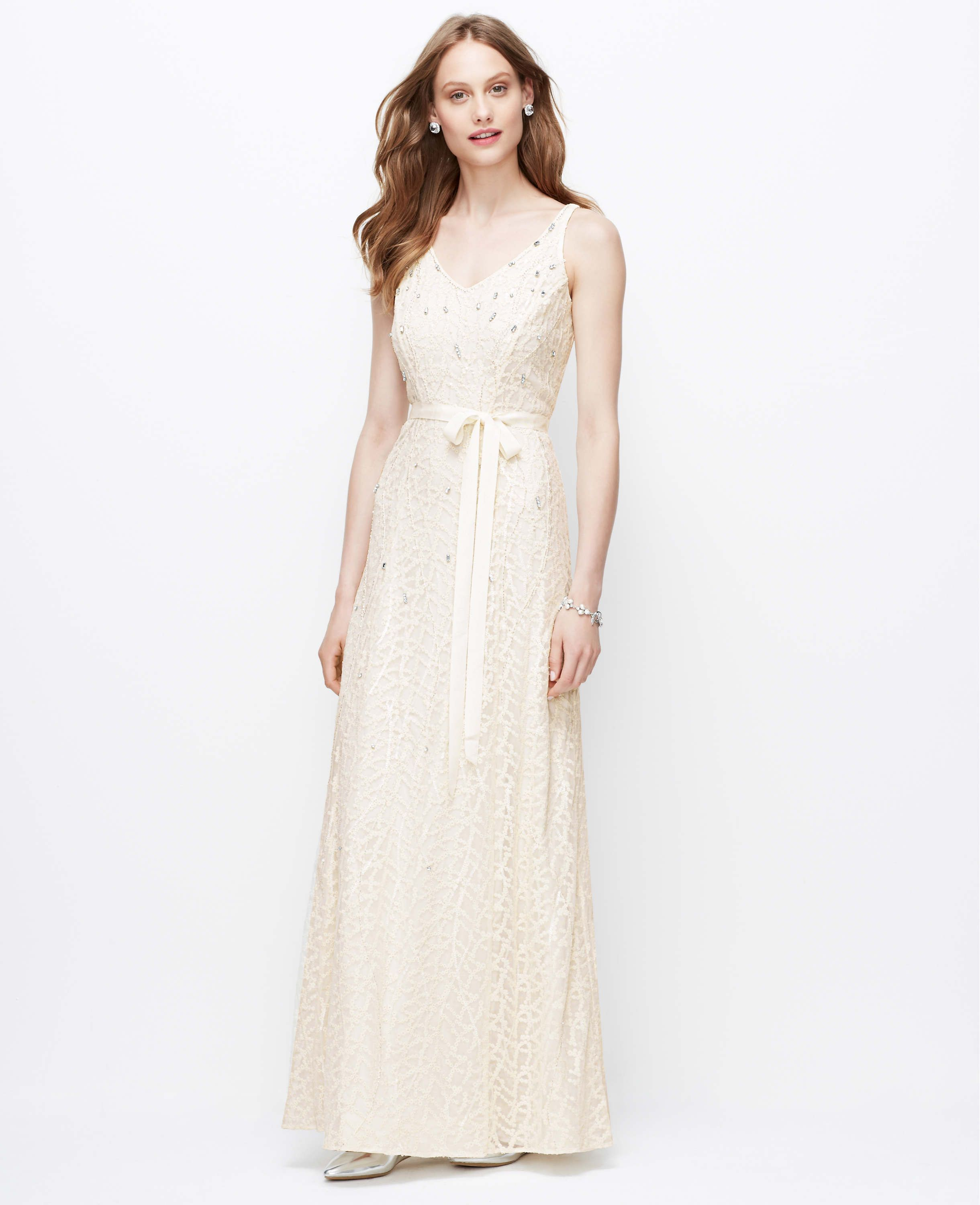 Embellished V-Neck Wedding Dress | Ann Taylor | Wedding Gowns ...