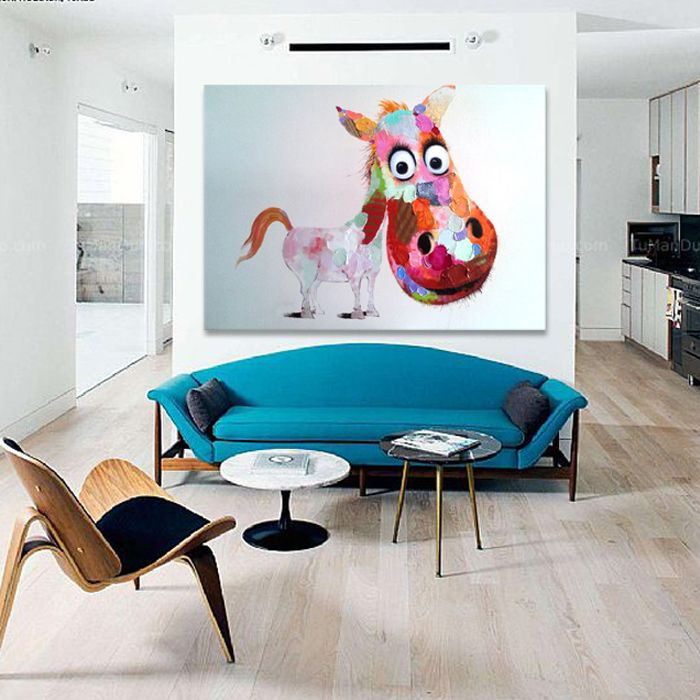 Handpainted Lovely Pony Wall Art Beauty Funny Animal Home Decor Best Living Room Paintings Design Decoration