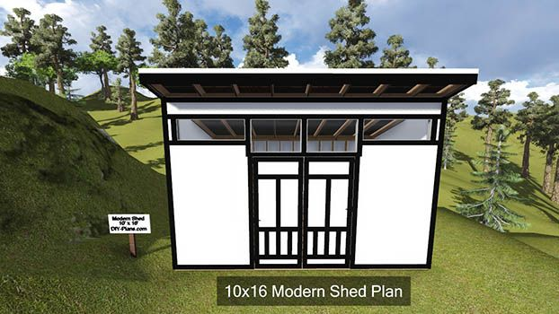 10x16 modern shed plan http www diy modern for Garden pool doomsday preppers