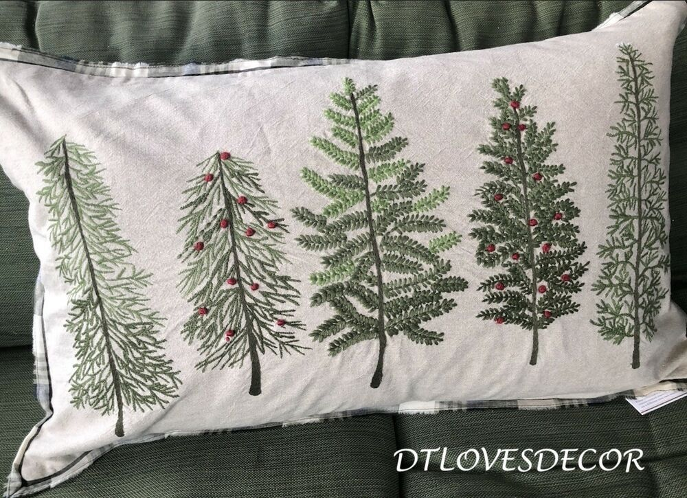 Pottery Barn Forest Embroidered Trees Lumbar Pillow Cover Only Nwt 16x26 Plaid Ebay Pottery Barn Pillow Cover Pottery Barn Pillows Embroidered Pillow Covers