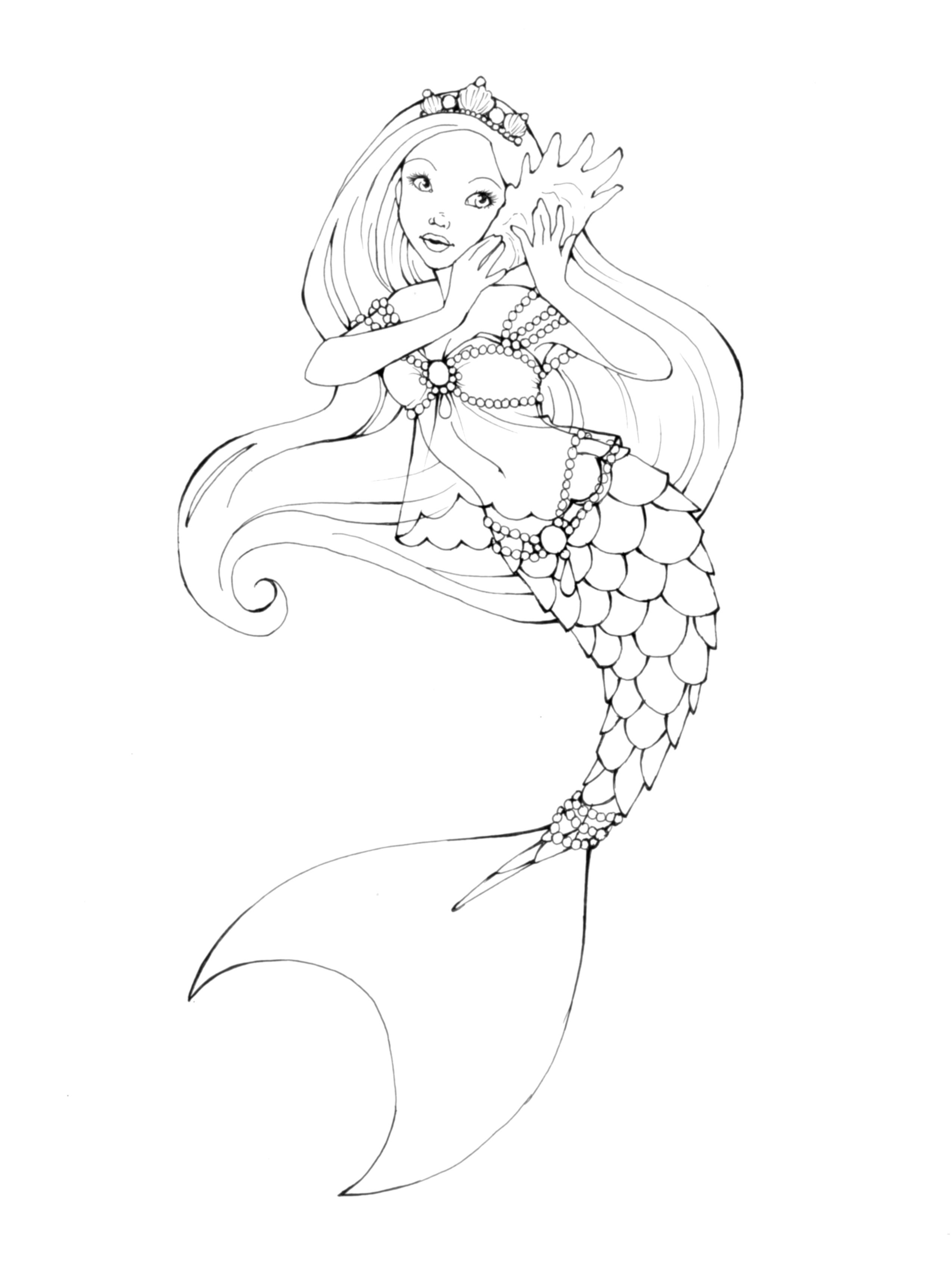 Printable Mermaid Coloring Pages Outline Mermaid Coloring Pages