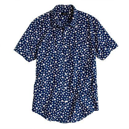 Indigo Short-sleeve shirt in floral reverse print - short-sleeve ...
