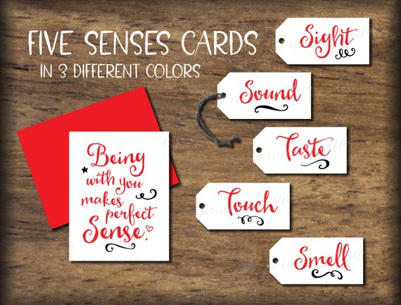 Five Senses Gift Tags & Card. 5 senses Instant download printable. Date Night gift for him her husba
