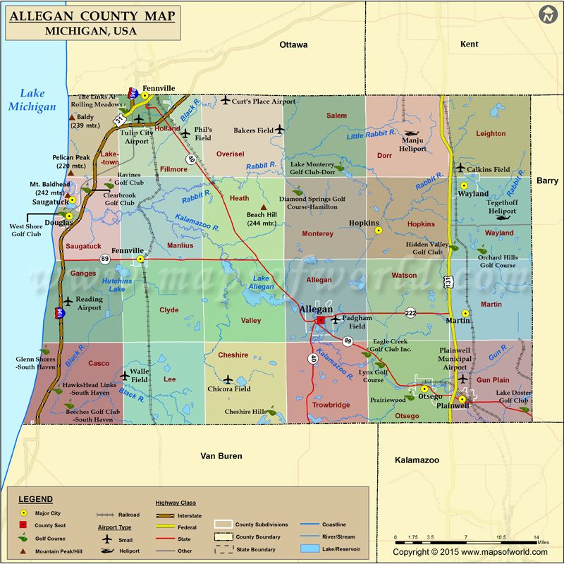 Map Of Allegan County In Michigan USA Countymap Map Allegan - Michigan county map usa