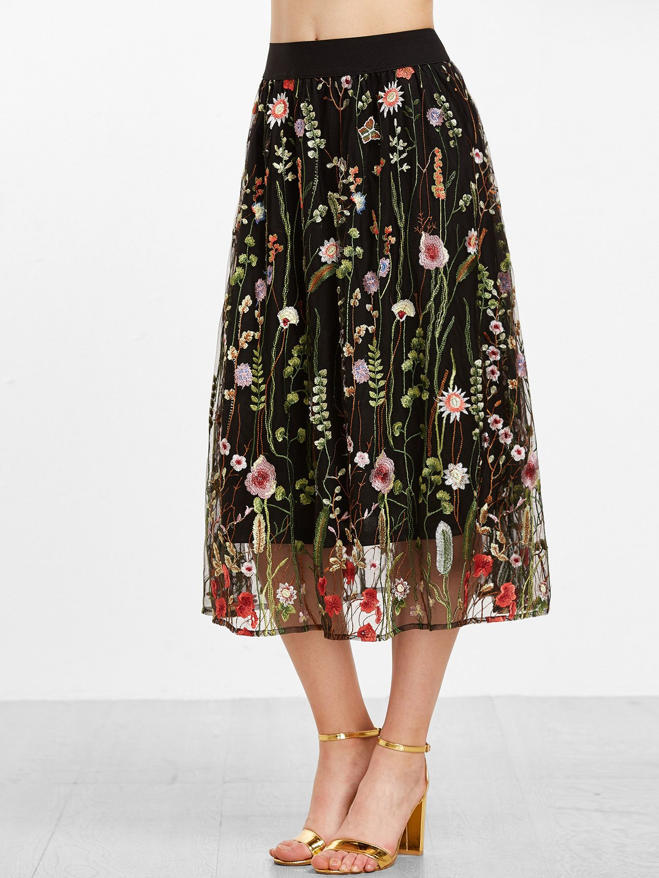e79583ed154af2 Black Floral Embroidered Mesh Overlay Midi Skirt | MakeMeChic.COM ...