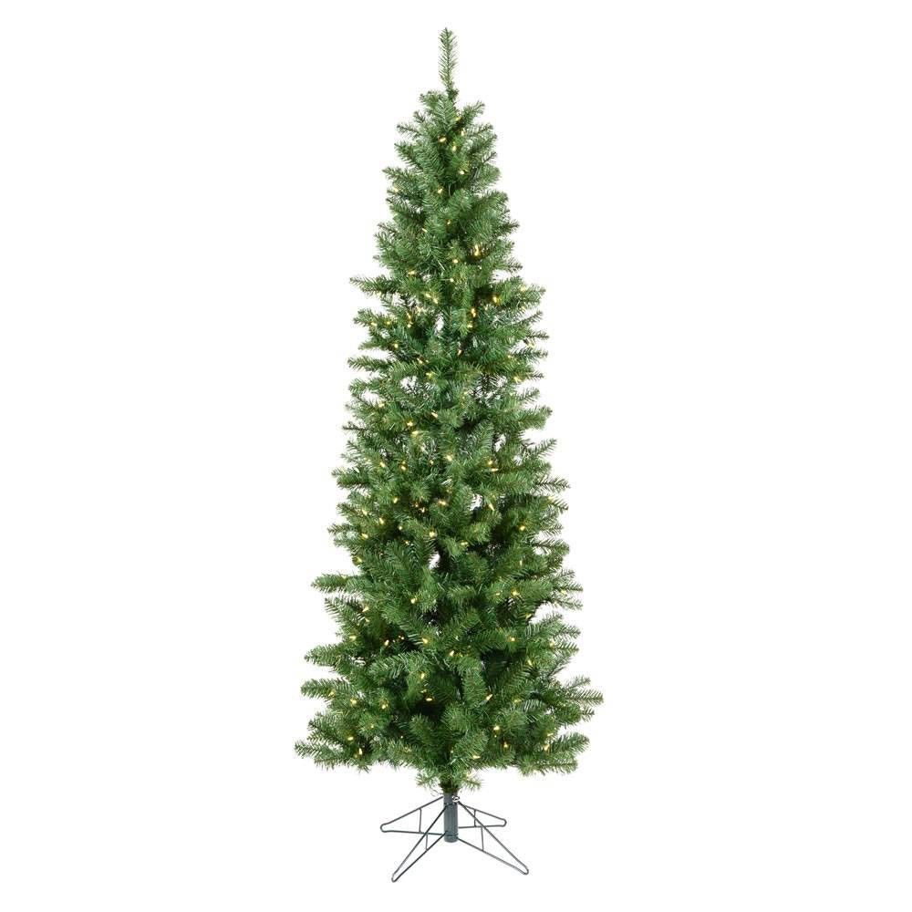 6.5ft Pre-Lit Salem Pencil Pine Artificial Tree LED Warm ...