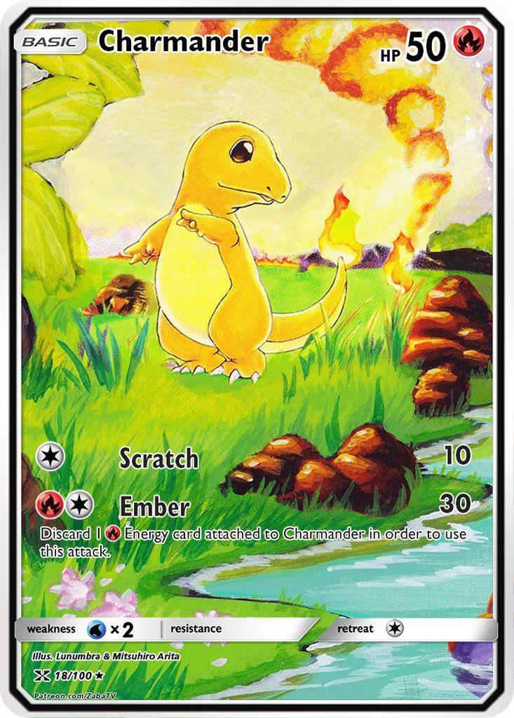 Charmander base set 46102 extended art custom pokemon