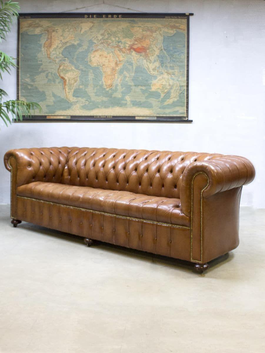 Donkerrode Leren Bank.Vintage Leather Chesterfield Vintage Leren Lounge Bank Xl