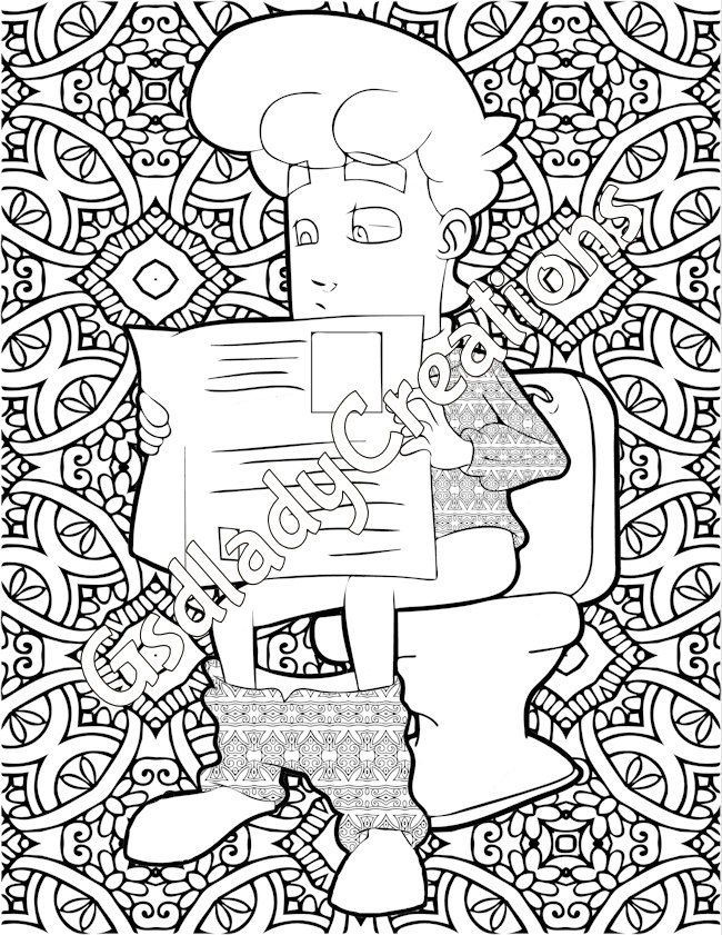 Adult Coloring Page Bundle Of Sitting On The Toilet Funny