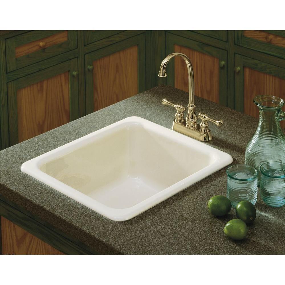 Kohler Dual Mount Cast Iron 17 In Single Basin Kitchen Sink In