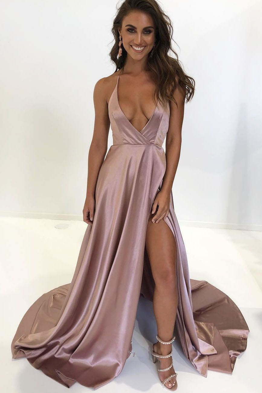 Sexy Halter Deep V Neck Teal Long Prom Dress With Side Slit Prom