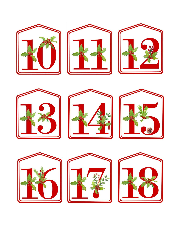 Diy Christmas Advent Calendar Red Printable Numbers 1 25