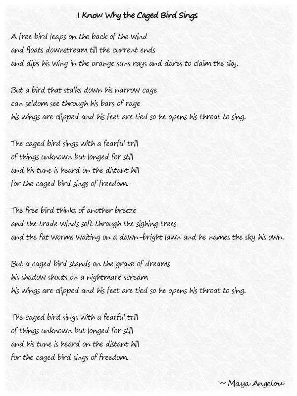 Caged Bird Poem By Maya Angelou One Of My Favorite