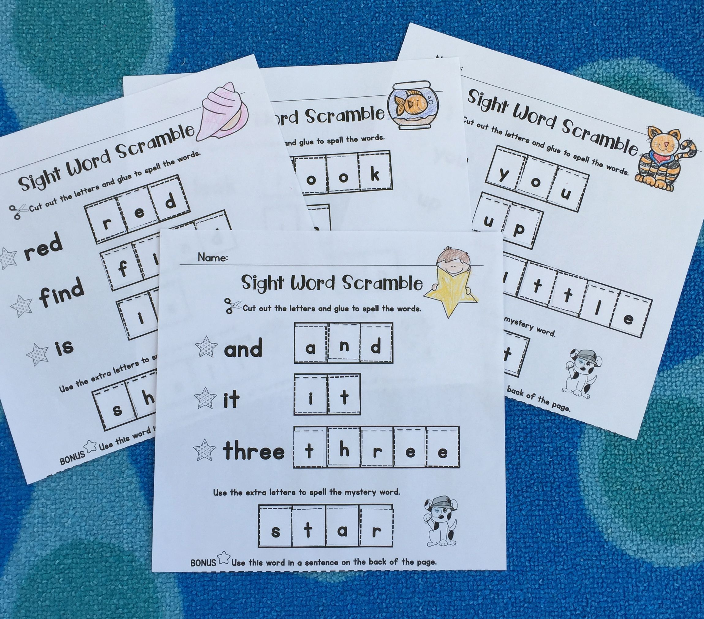 Sight Words Center Pre Primer List