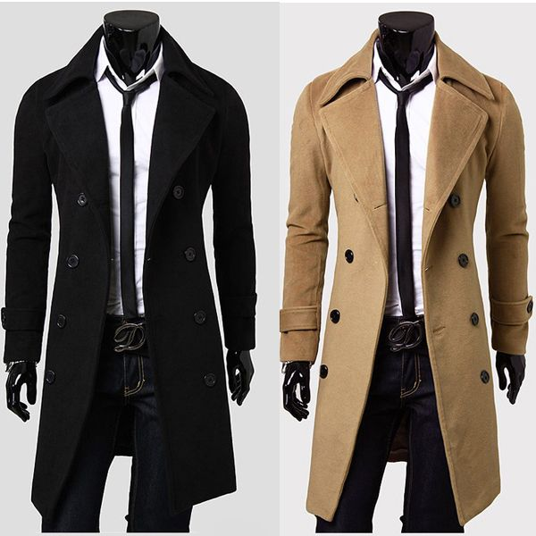 Stylish Double Breasted Overcoat Men Long Trench Winter ...