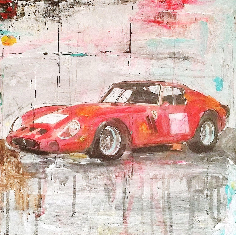 Kunst Malerei Mischtechnik Auto Legends Ferrari GTO 250 Zeichnung ...