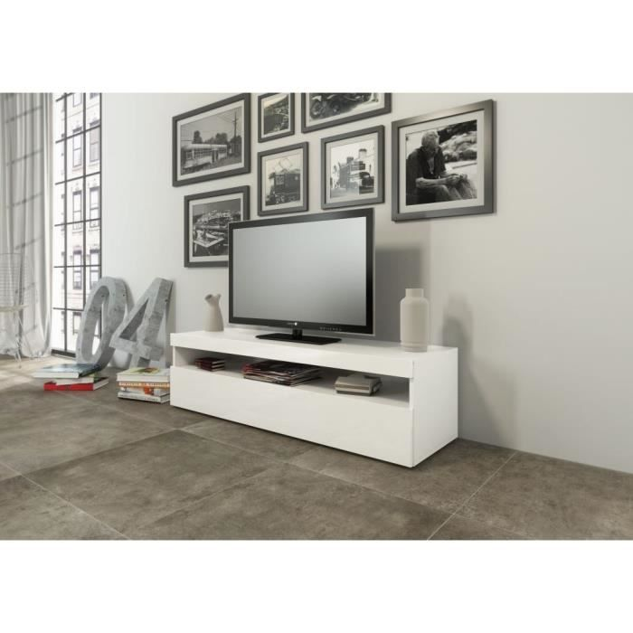 burrata meuble tv 1 porte 1 compartiment coloris blanc - Meuble Tv Blanc Glossy