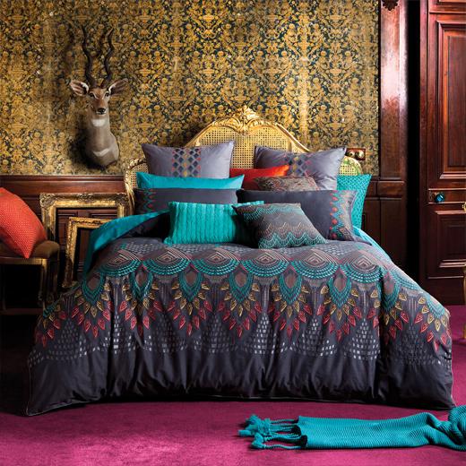 parure de lit adiri motifs originaux et couleurs chatoyantes pour une ambiance ethnique ce. Black Bedroom Furniture Sets. Home Design Ideas