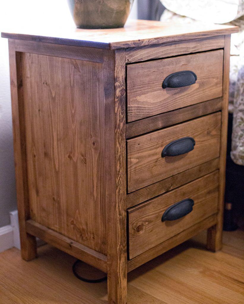 Reclaimed Wood Look Bedside Table Diy nightstand, Diy