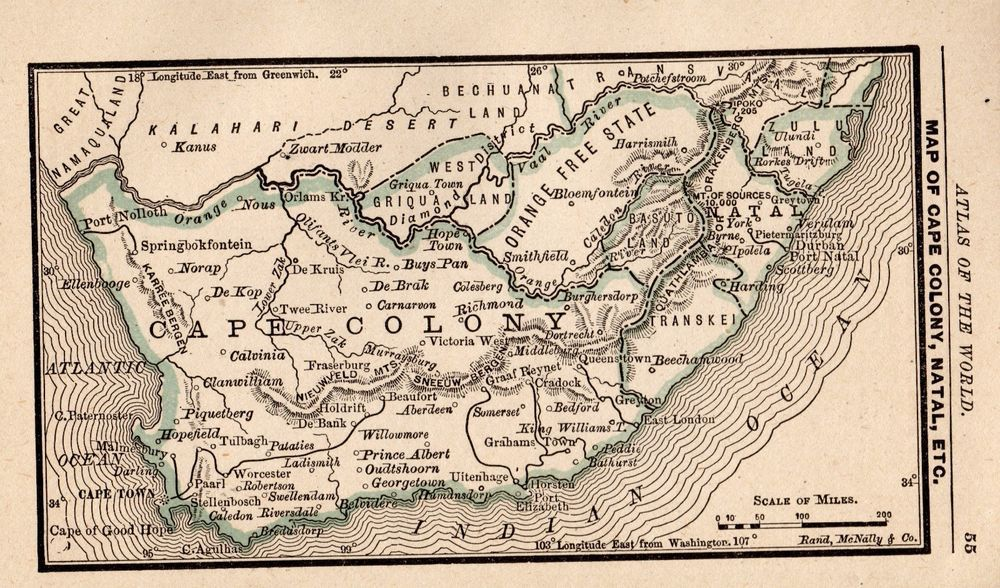1888 Antique SOUTH AFRICA Map RARE MINIATURE Vintage Map CAPE COLONY