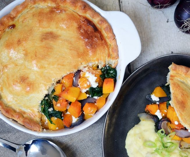 Hearty, wholesome and full of goodness, the golden combo of sweet, roasted butternut squash with the tang of goat's cheese makes this pie a surefire crowdpleaser.