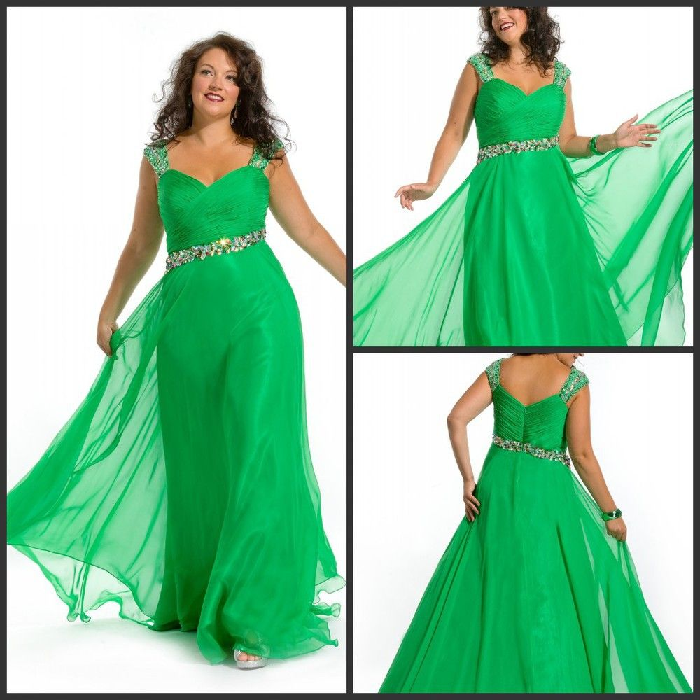 Fast Shipping Fashion Cap Sleeve Beaded Emerald Green Plus Size Prom